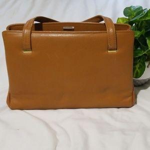 🌸VTG  1960s Rare Margolin Camel Leather Clasp Bag